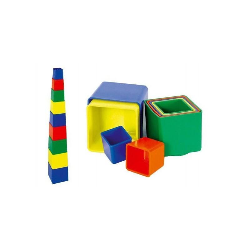 Kubus pyramida skládanka hranatá plast  9ks - 4 barvy