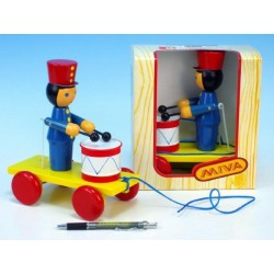 Voják s bubnem tahací dřevo 20cm v krabičce