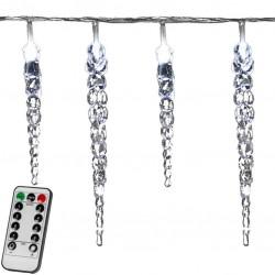 Vianočné dekoratívne osvetlenie - cencúle - 40 LED studená biela + ovládač