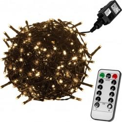 Vianočné LED osvetlenie 20 m - teplá biela 200 LED + ovládač - zelený kábel