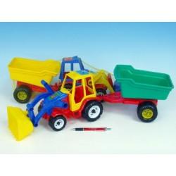 Traktor nakladač s valníkem plast 64cm asst 3 barvy v síťce