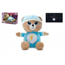 Medvídek Usínáček modrý plyš 32cm na baterie se světlem a zvukem