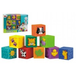 Kostky 9ks měkké gumové 5x5x5cm v krabici 6m+