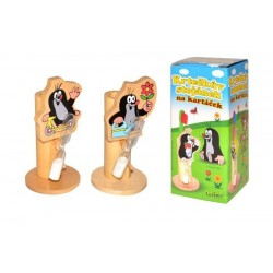 Stojánek na kartáček Krtek dřevo asst 4 druhy v krabičce 7x15x7cm