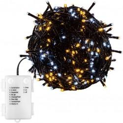 Vianočná reťaz 5 m - teple/studeno biela 50 LED na BATÉRIE