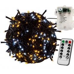 Vianočná reťaz 20m - teple/studeno biela 200 LED na BATÉRIE
