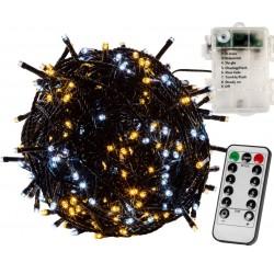 Vianočná reťaz 5m - teple/studeno biela 50 LED na BATÉRIE