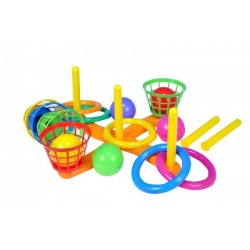 Házecí hra kříž s košíky plast 38cm v síťce