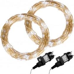 Sada 2 kusov svetelných drôtov 100 LED - studeno biela