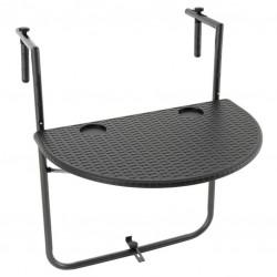 Závesný sklopný stolík ratanového vzhľadu - čierny
