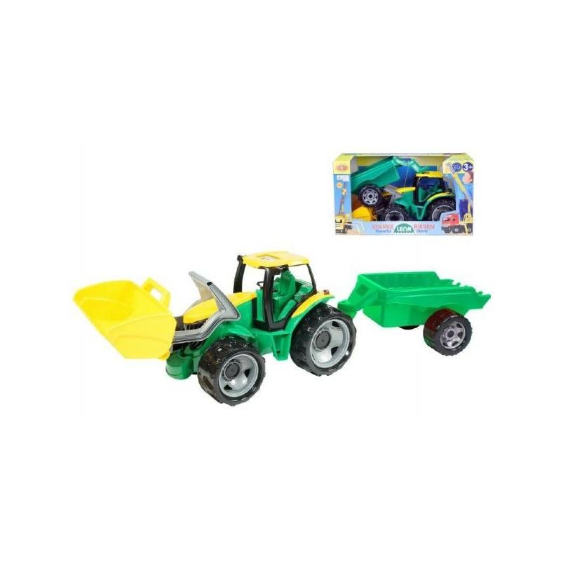 Traktor se lžící 60cm a přívěsem 45cm plast v krabici