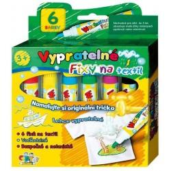 Fixy na textil vypratelné 6ks v krabičce 13x13cm