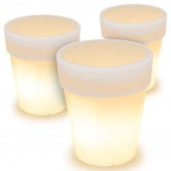 Sada 3 ks solárnych kvetináčov - 3 LED, teplá biela