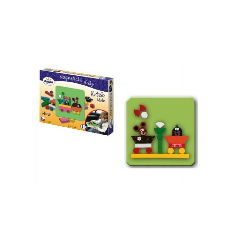 Magnetické dílky mini Krtek dřevo 27ks v krabici 27x19x3cm