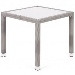Záhradný polyratanový stôl Mori so sklenenou doskou - sivá