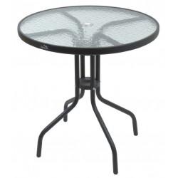 Záhradný kovový stôl so sklenenou doskou - 70 cm
