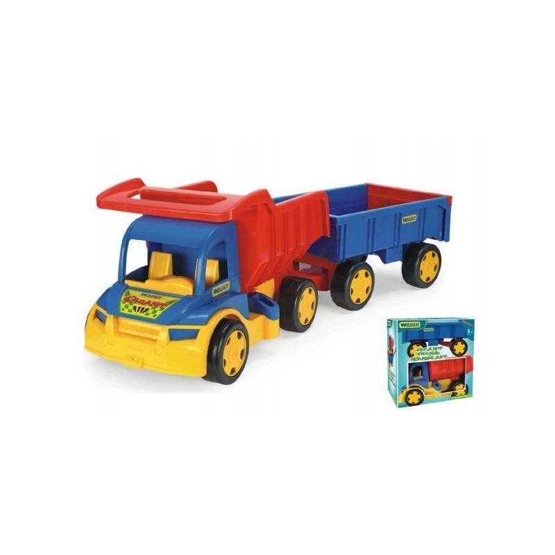 Auto Gigant truck + dětská vlečka plast 55cm v krabici Wader