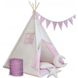 Detský stan teepee, ružovo/béžový, s príslušenstvom