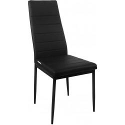 Sada jedálenských stoličiek s PU kožou, čierne, 2 ks