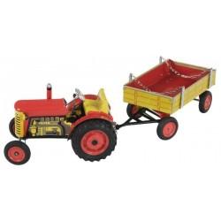 Traktor Zetor s valníkem červený na klíček kov 28cm Kovap v krabičce