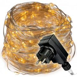 Svetelná reťaz s časovačom - 200 LED, teplá biela