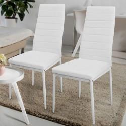 Sada jedálenských stoličiek s PU kožou, biele, 2 ks