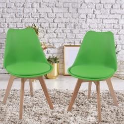 Sada stoličiek s plastovým sedadlom, 2 ks, zelené