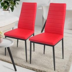 Sada jedálenských stoličiek z PU kože, červené, 2 ks
