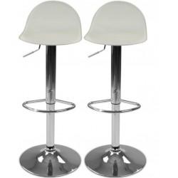 Sada barových stoličiek s podnožkou, béžová, 2 ks