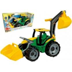 Traktor se lžící a bagrem plast zeleno-žlutý 65cm v krabici od 3 let