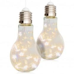 Vianočná dekorácia žiarovka, 2 ks, 10 LED, teple biela