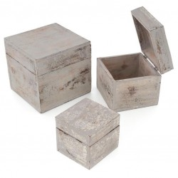 Drevené krabičky s vekom, sada 3 kusov, svetlo sivá