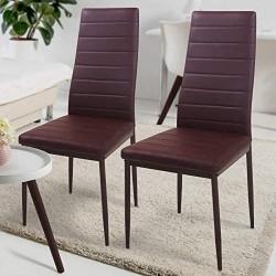 Sada jedálenských stoličiek s PU kožou, hnedé, 2 ks