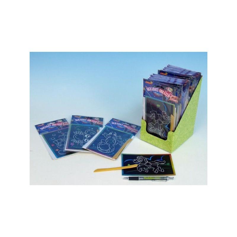 Škrabací obrázek třpytivý barevný 15x10cm