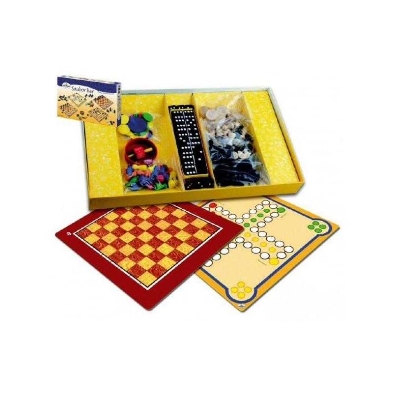 Soubor her 7 společenská hra dřevo v krabici 37x22x4cm