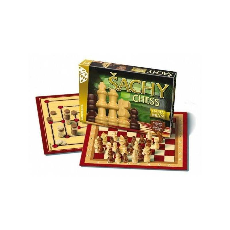 Šachy, dáma, mlýn společenská hra v krabici 35x23x4cm