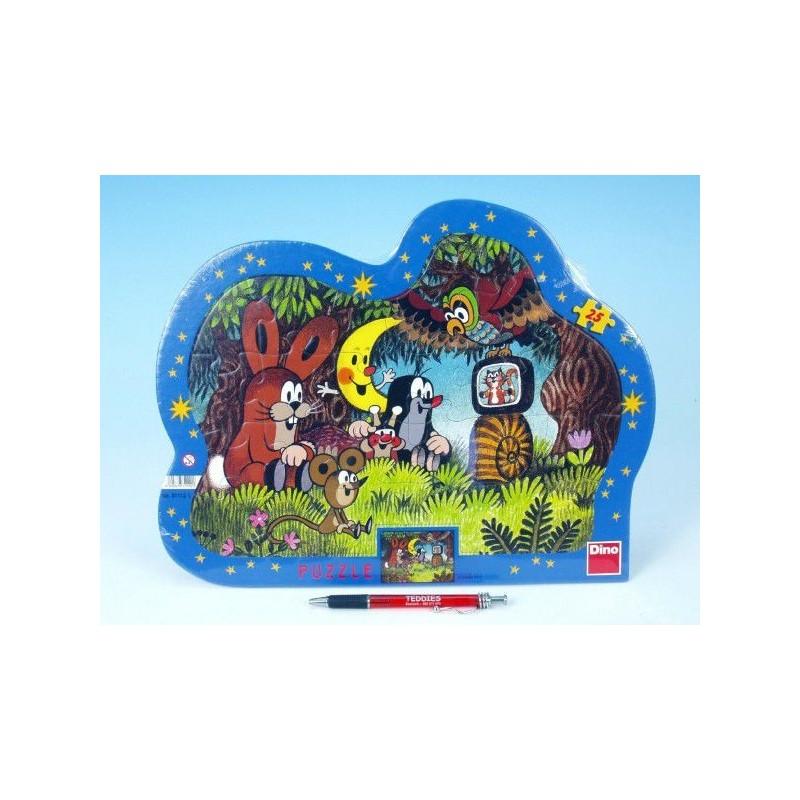 Puzzle deskové Krtek Večer u Krtečka kontura 36x28cm 25 dílků