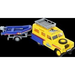 Stavebnice Monti 63 Land Rover-vlek s loďkou/člunem 1:35 v krabici 22x15x6cm