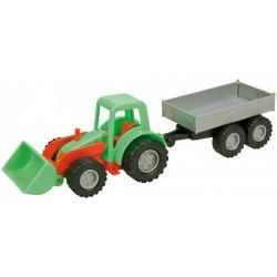 Traktor Mini Compact s přívěsem plast 24cm v krabici