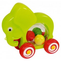 Slon s míčky tahací plast 20x18x9,5cm v sáčku 12m+
