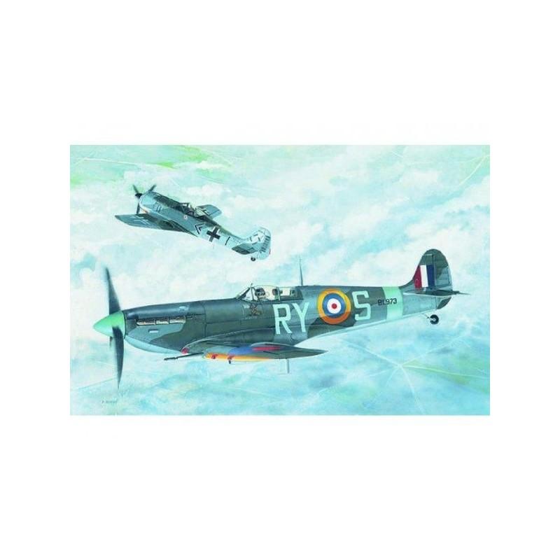 Model Supermarine Spitfire MK.VB 12,8x13,6cm v krabici 25x14,5x4,5cm
