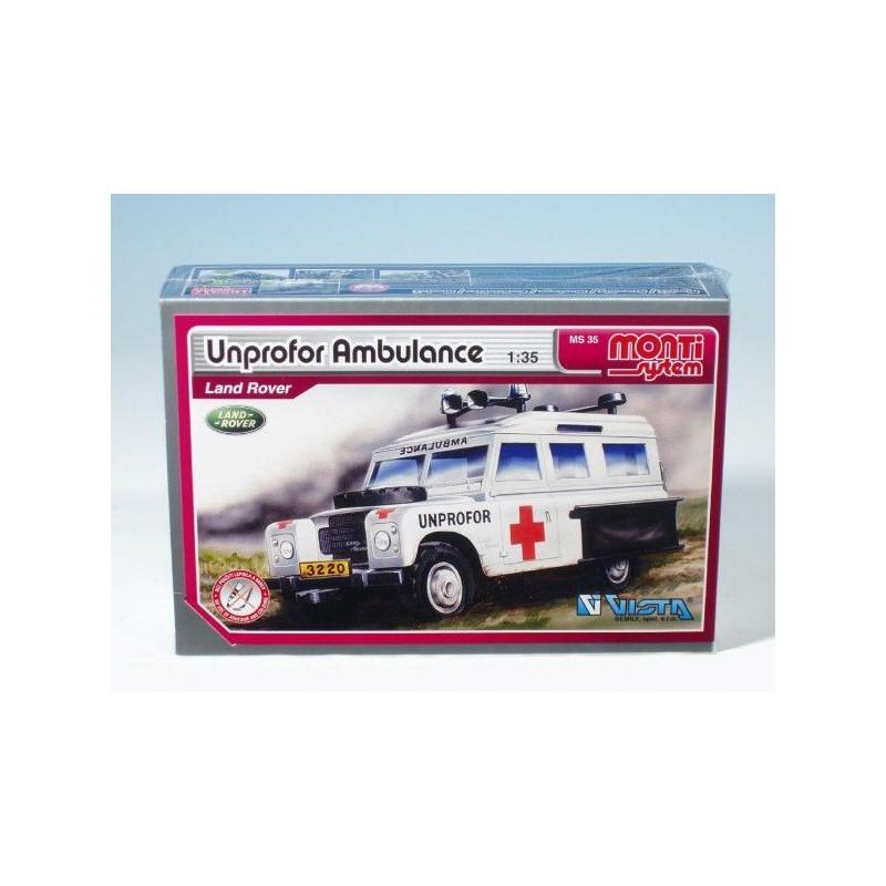 Stavebnice Monti 35 Unprofor Ambulance Land Rover 1:35 v krabici 22x15x6cm