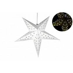 Vianočná dekorácia - hviezda s časovačom 60 cm - 10 LED, biela