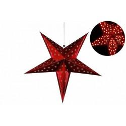 Vianočná dekorácia - hviezda s časovačom 60 cm - 10 LED, červená