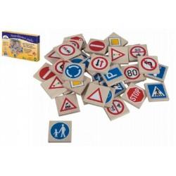 Pexeso dopravní značky dřevo 36ks 4x4x0,6cm v krabici