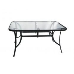 Záhradný stolík so sklenenou doskou